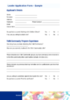 Sample Leader Application Form